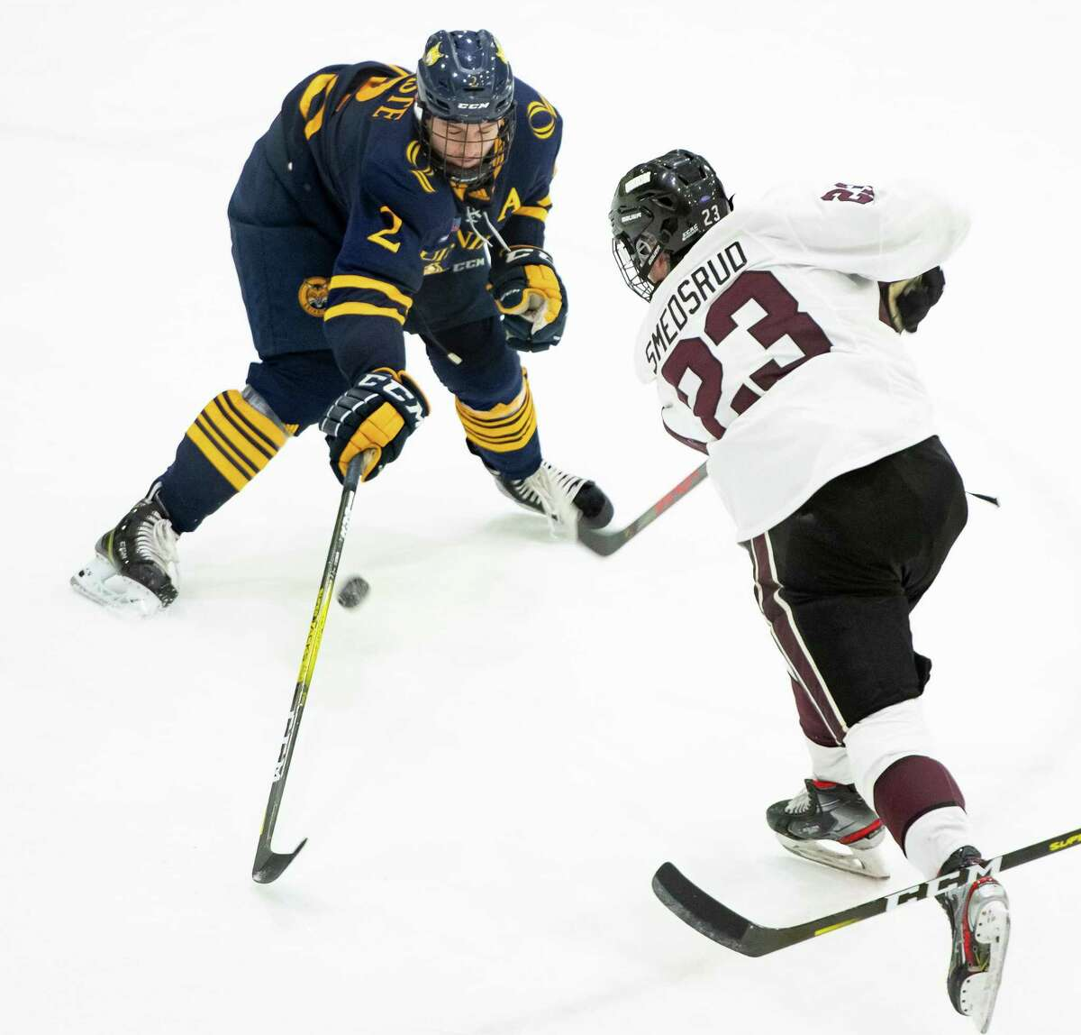 Quinnipiac defenseman Karlis Cukste attempts to block a shot by Union forward Chaz Smedsrud during a game in February.