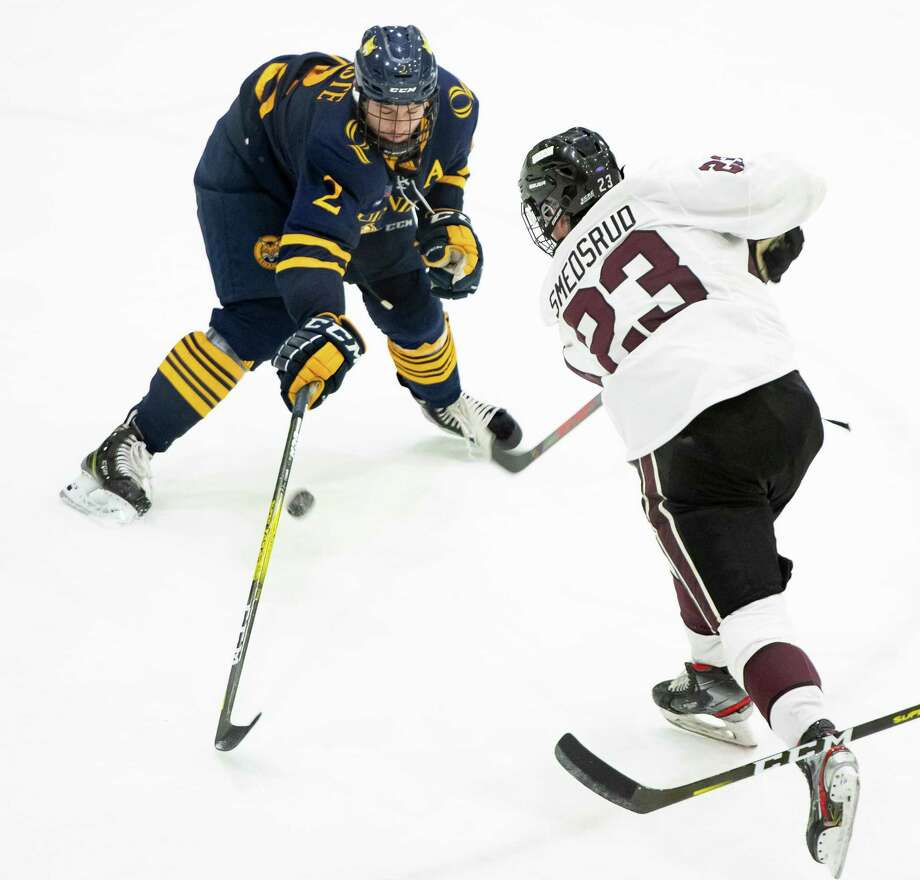 Quinnipiac defenseman Karlis Cukste attempts to block a shot by Union forward Chaz Smedsrud during a game in February. Photo: Jenn March / Special To Hearst Connecticut Media / © Jenn March 2020 © Albany Times Union 2020