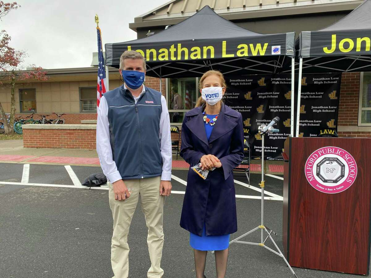 State Sen. James Maroney and Lt. Gov. Susan Bysiewicz at Jonathan Law High School in Milford.
