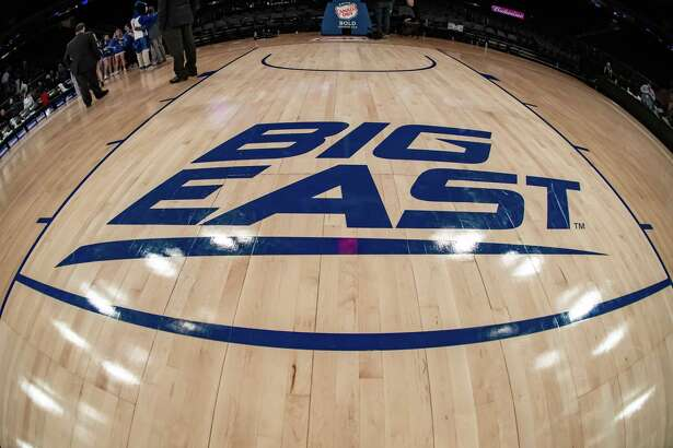 NEW YORK, NY - MARCH 12: General view of the Big East Conference logo during the first half of the Big East tournament quarterfinal round game between the St. Johns Red Storm and Creighton Blue Jays on March 12, 2020 at Madison Square Garden in New York, NY (Photo by John Jones/Icon Sportswire via Getty Images)