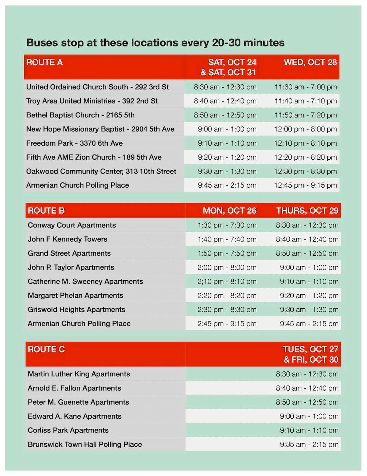 Souls to the Polls bus schedules for early voting in Troy, N.Y. on Oct. 24, 28 and 31.