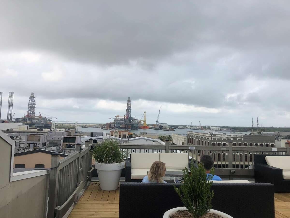 Dark clouds roll over the Rooftop Bar at the Tremont House Hotel.