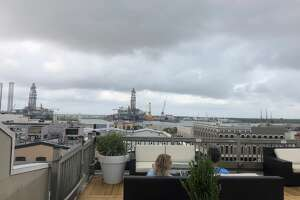 Ominous clouds roll over the Rooftop Bar the Tremont House Hotel