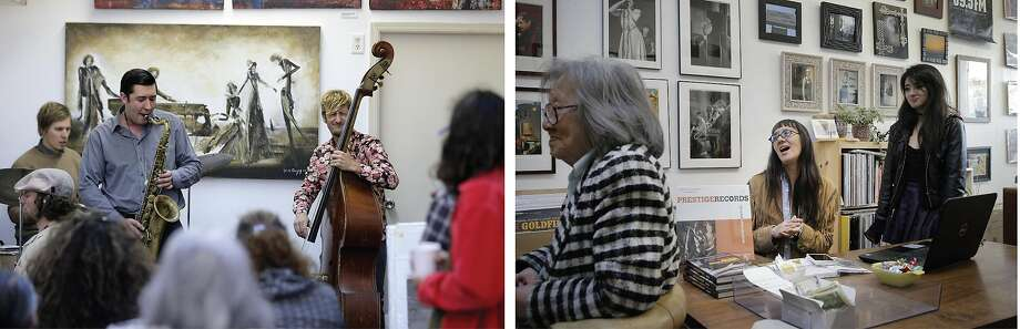 Left: Daniel Brown performs on the saxophone at Noise in 2016. Right: Sara Johnson (center) listens to the jazz jam session. Photo: Carlos Avila Gonzalez / The Chronicle 2016