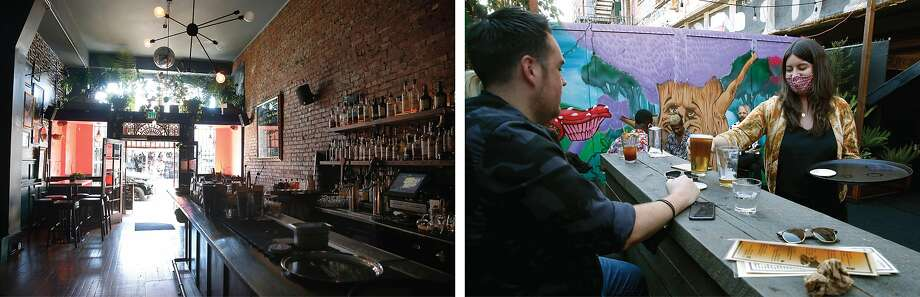 Left: The interior of Casements remains closed. Right: Gillian Fitzgerald (right) brings drinks to diners. They recently expanded the bar by renting seven parking spaces in the lot out back for outdoor dining. Photo: Paul Chinn / The Chronicle