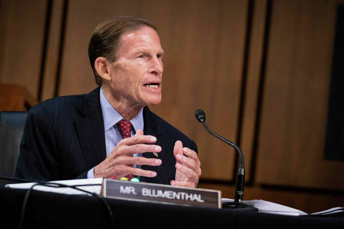 Sen. Richard Blumenthal, D-Conn., questions Supreme Court nominee Amy Coney Barrett during the third day of her confirmation hearings before the Senate Judiciary Committee on Capitol Hill in Washington, Wednesday, Oct. 14, 2020.(Sarah Silbiger/Pool via AP)