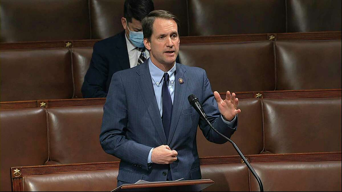 U.S. Rep. Jim Himes, D-Conn., speaks on the floor of the House of Representatives at the U.S. Capitol in Washington, Thursday, April 23, 2020.