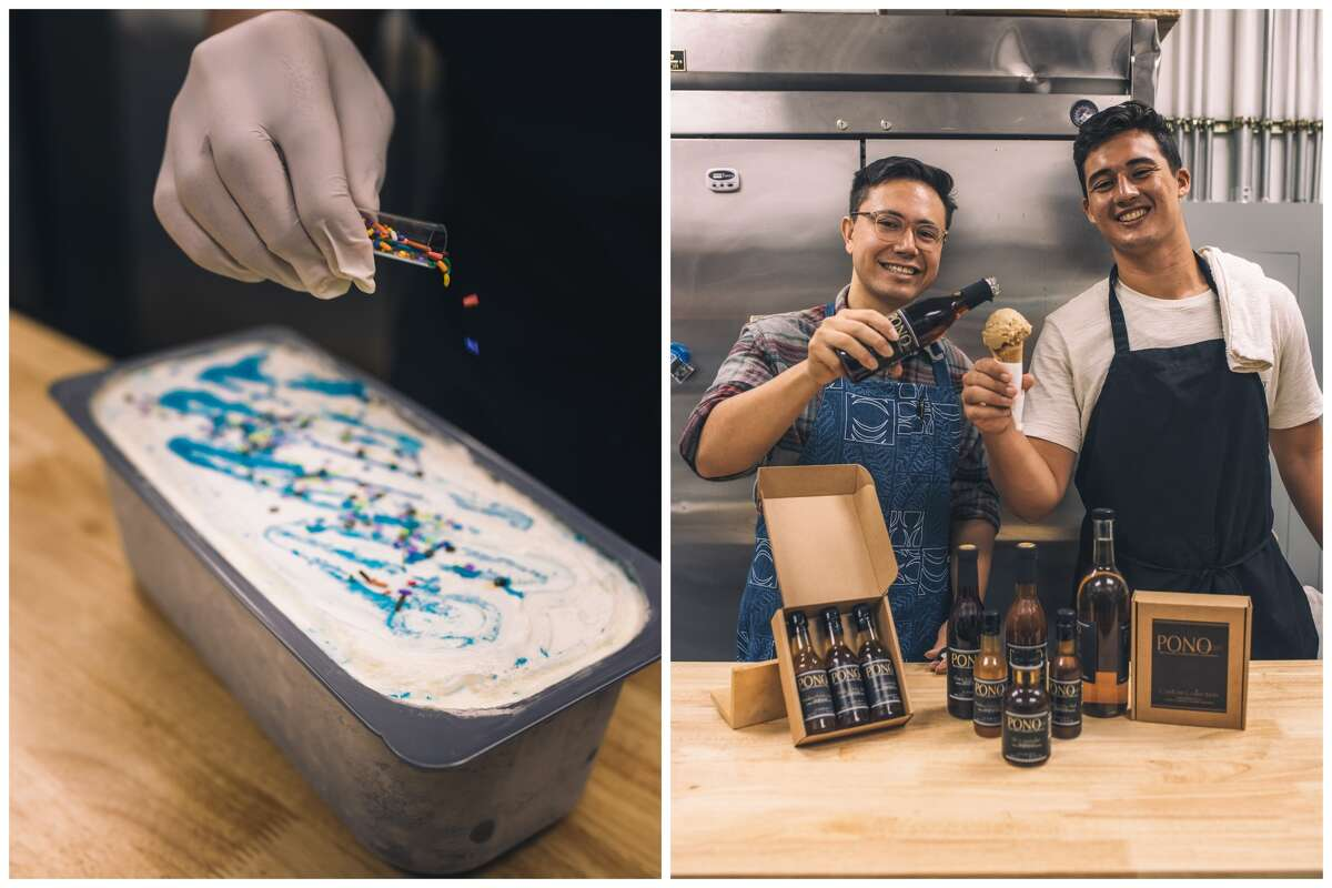 Ice cream from Lucy's Lab Creamery, and two of its staff: operations manager Peter Hessler (left) and CEO Nathan Bek.