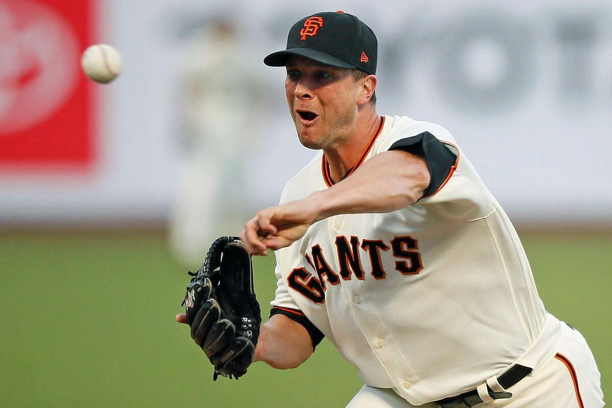San Francisco Giants pitcher Tony Watson (56) in the seventh inning during an MLB game against the San Diego Padres at Oracle Park, Friday, Sept. 25, 2020, in San Francisco, Calif. The Giants won 5-4 in game one of a doubleheader. Each game is played for seven innings, instead of nine.