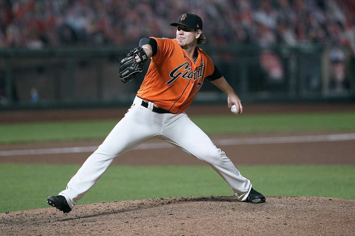 San Francisco Giants relief pitcher Caleb Baragar works against the San Diego Padres during the fourth inning of the second game of a baseball doubleheader Friday, Sept. 25, 2020, in San Francisco. (AP Photo/Tony Avelar)