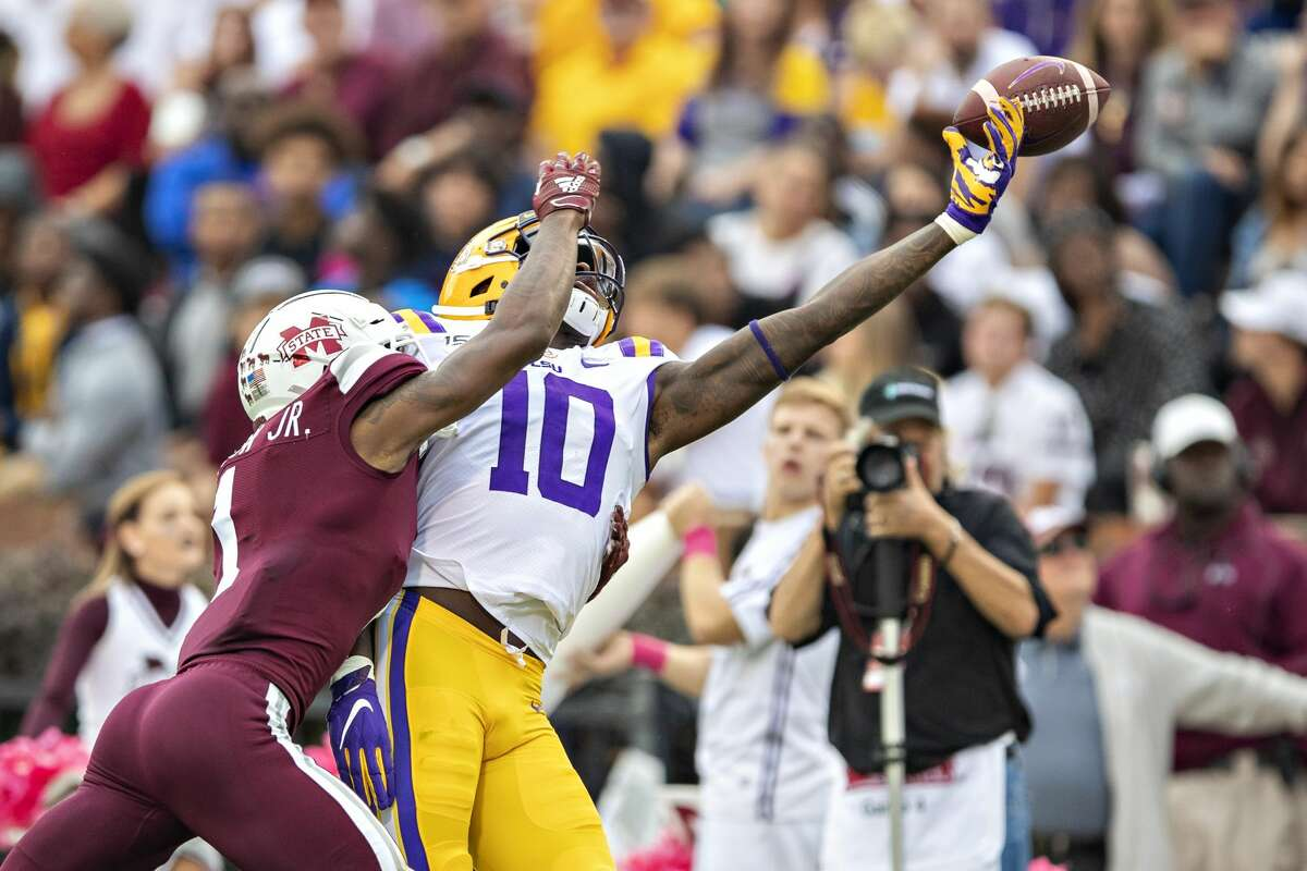 STARKVILLE, MS - OCTOBER 19: Stephen Sullivan #10 of the LSU Tigers misses a pass but is interfered by Martin Emerson #1 of the Mississippi State Bulldogs at Davis Wade Stadium on October 19, 2019 in Starkville, Mississippi. The Tigers defeated the Bulldogs 36-13. (Photo by Wesley Hitt/Getty Images)