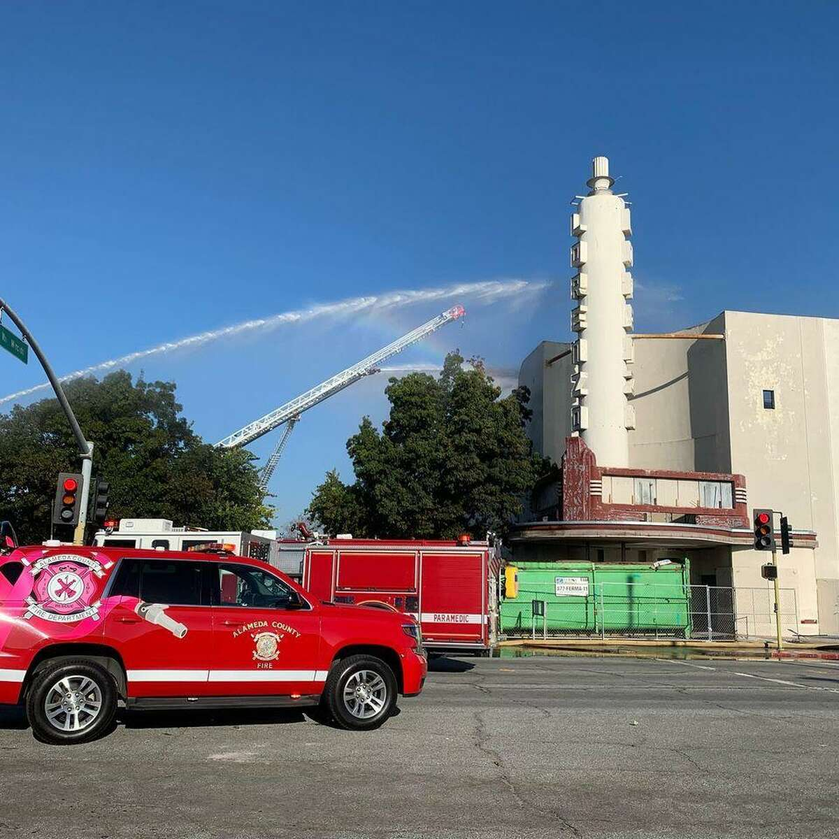 Alameda County firefighters responded to a blaze at the Lorenzo Theatre on Hesperian Boulevard at about 3:40 p.m. Friday.