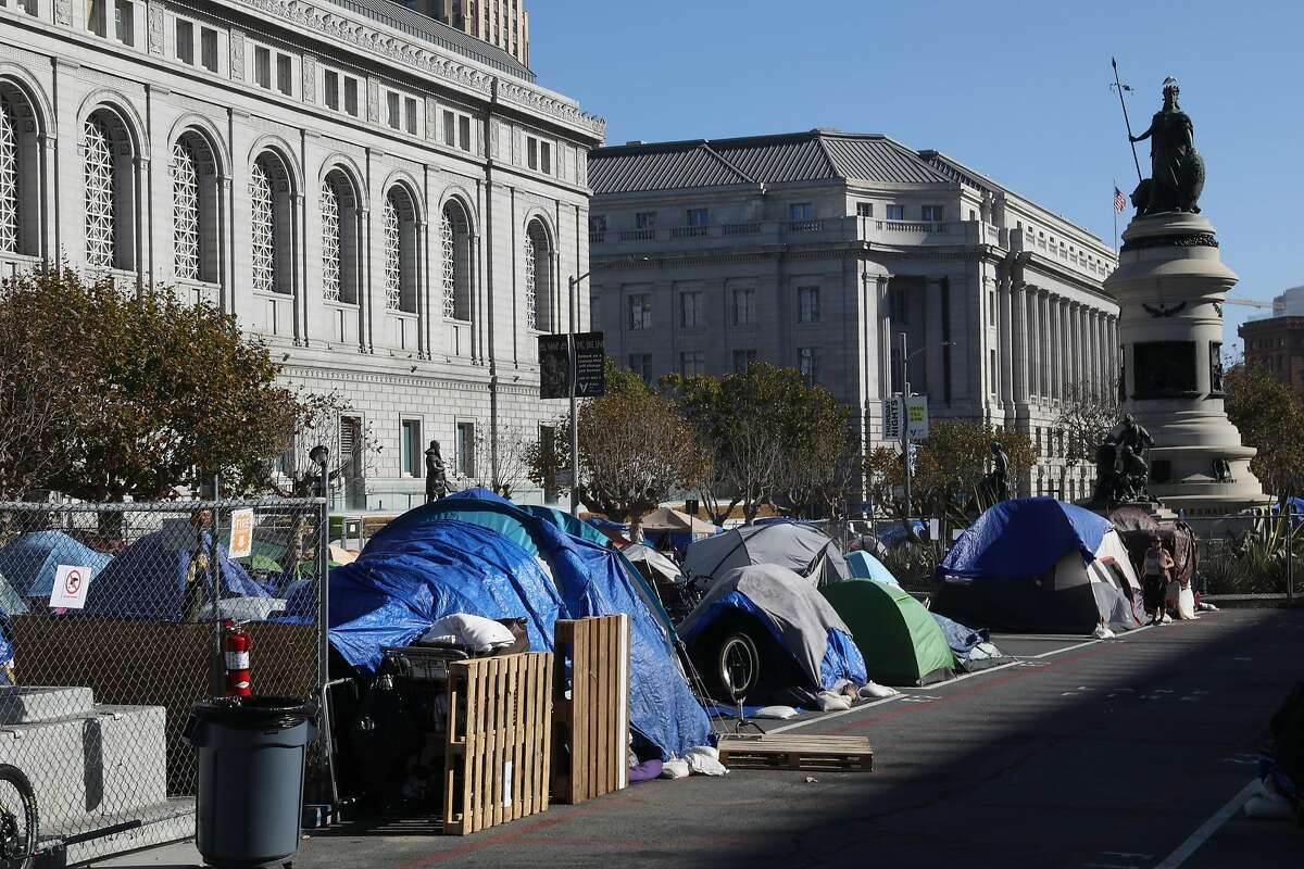 The block between the Asian Art Museum and the Main Library has been set up as a safe sleeping area for homeless people.