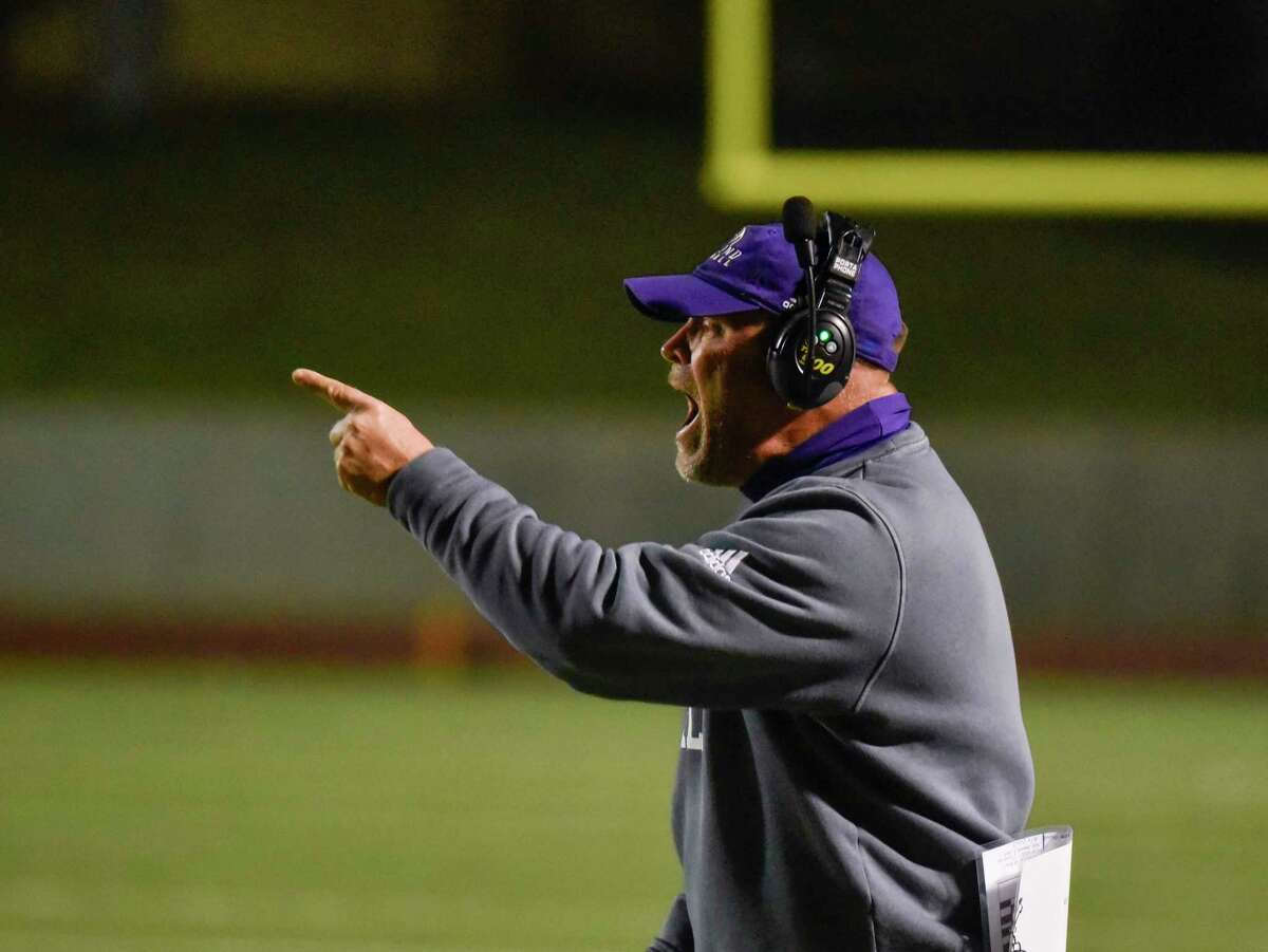 Midland Highhead coach Tim Anuszkiewicz disputes a play with the referees Friday, Oct. 23, 2020 at Ratliff Stadium. Jacy Lewis/Reporter-Telegram