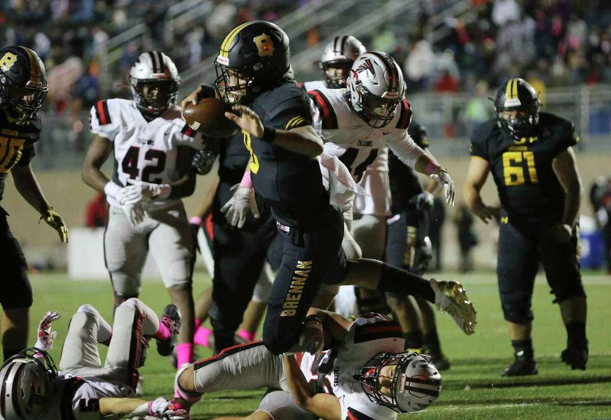 Brennan quarterback Ashton Dubose (08) runs on a keeper for a touchdown against Stevens during their football game at Farris Stadium on Friday, Oct. 23, 2020.