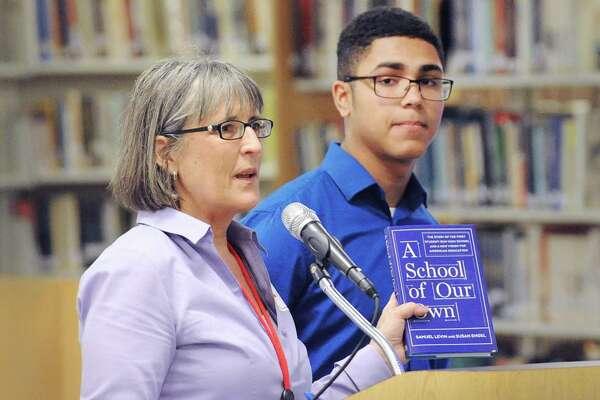 Greenwich Education Association President Carol Sutton at Greenwich High School, Conn., Thursday, May 25, 2017.