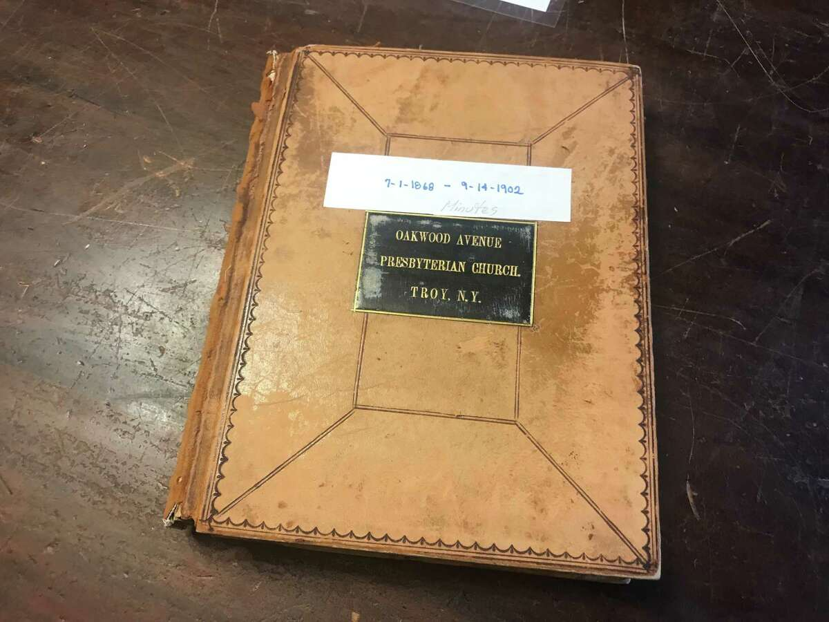 The 19th century minutes book for the Oakwood Presbyterian Church maintained at the Hart Cluett Museum Library, 57 Second St., Troy, N.Y.