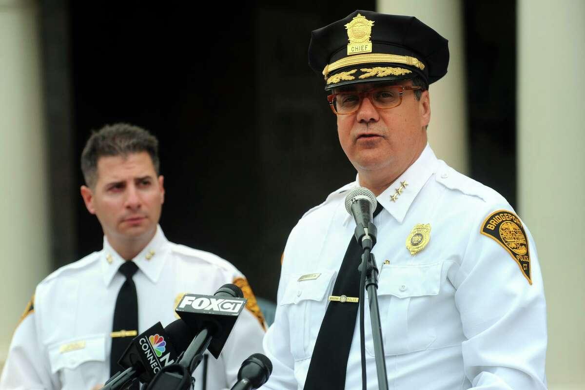Bridgeport Police Chief Joseph Gaudett speaks at a press conference in Bridgeport, Conn. Oct. 15, 2014. Gaudett is seen here with Assistant Chief James Nardozzi.