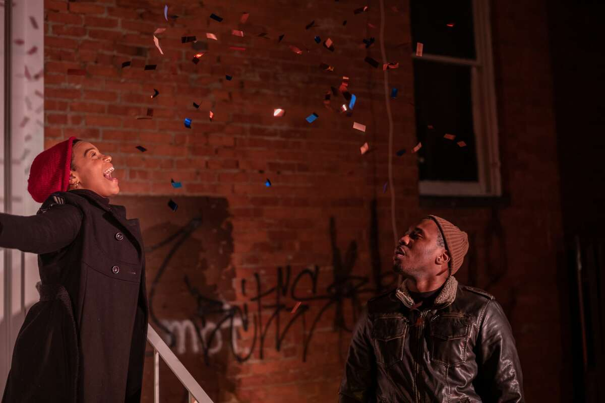 Angelique Powell, left, and Iniabasi Nelson in Troy Foundry Theatre's world premiere of