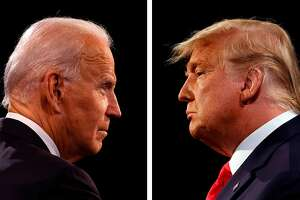 Democratic Presidential candidate and former US Vice President Joe Biden, left, and US President Donald Trump participate in the final presidential debate at Belmont University in Nashville, Tennessee, on October 22, 2020.