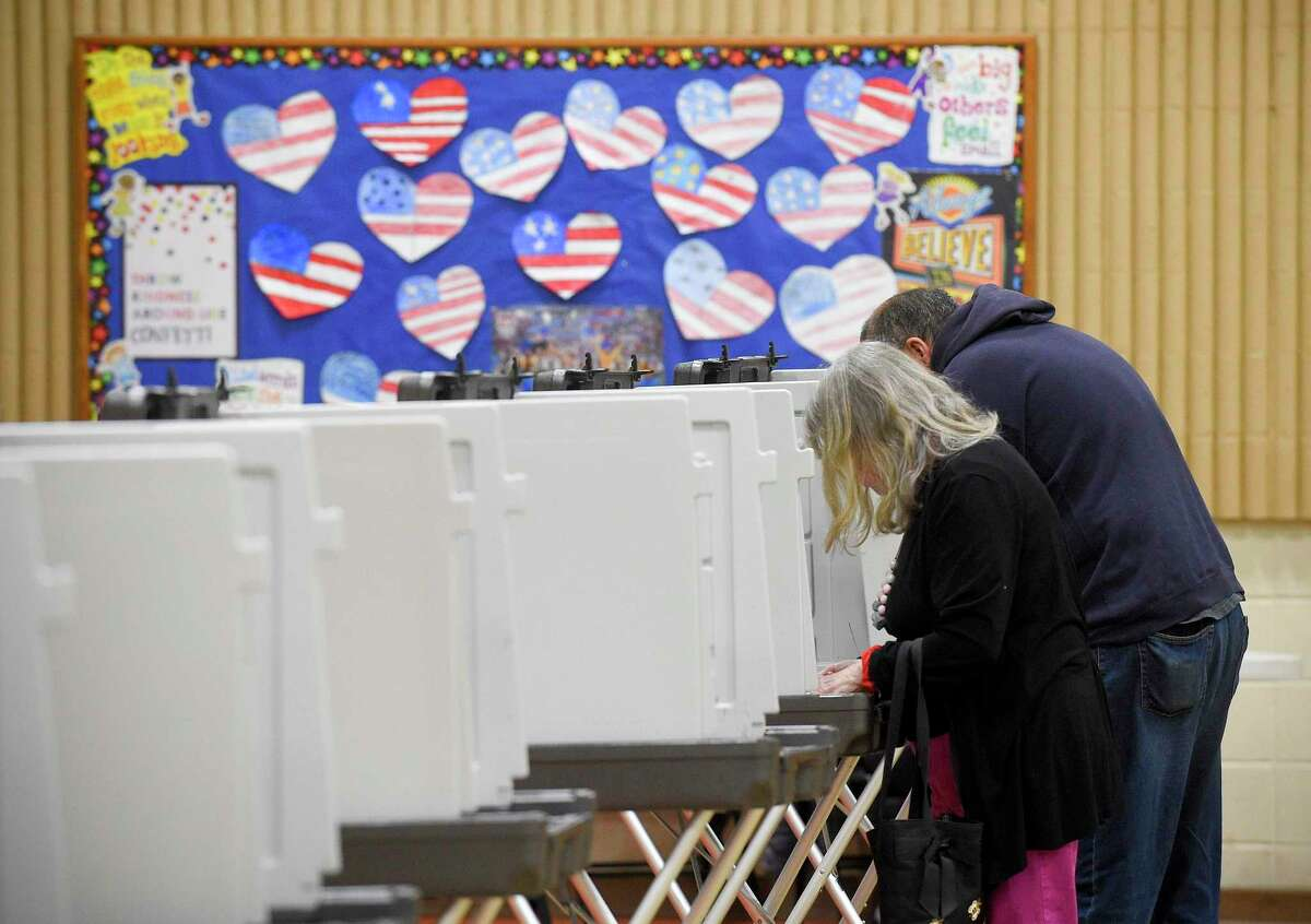 Residents cast their votes at District 14 polling site at StillmeadowElementary School on Nov. 5, 2019 in Stamford, Connecticut.