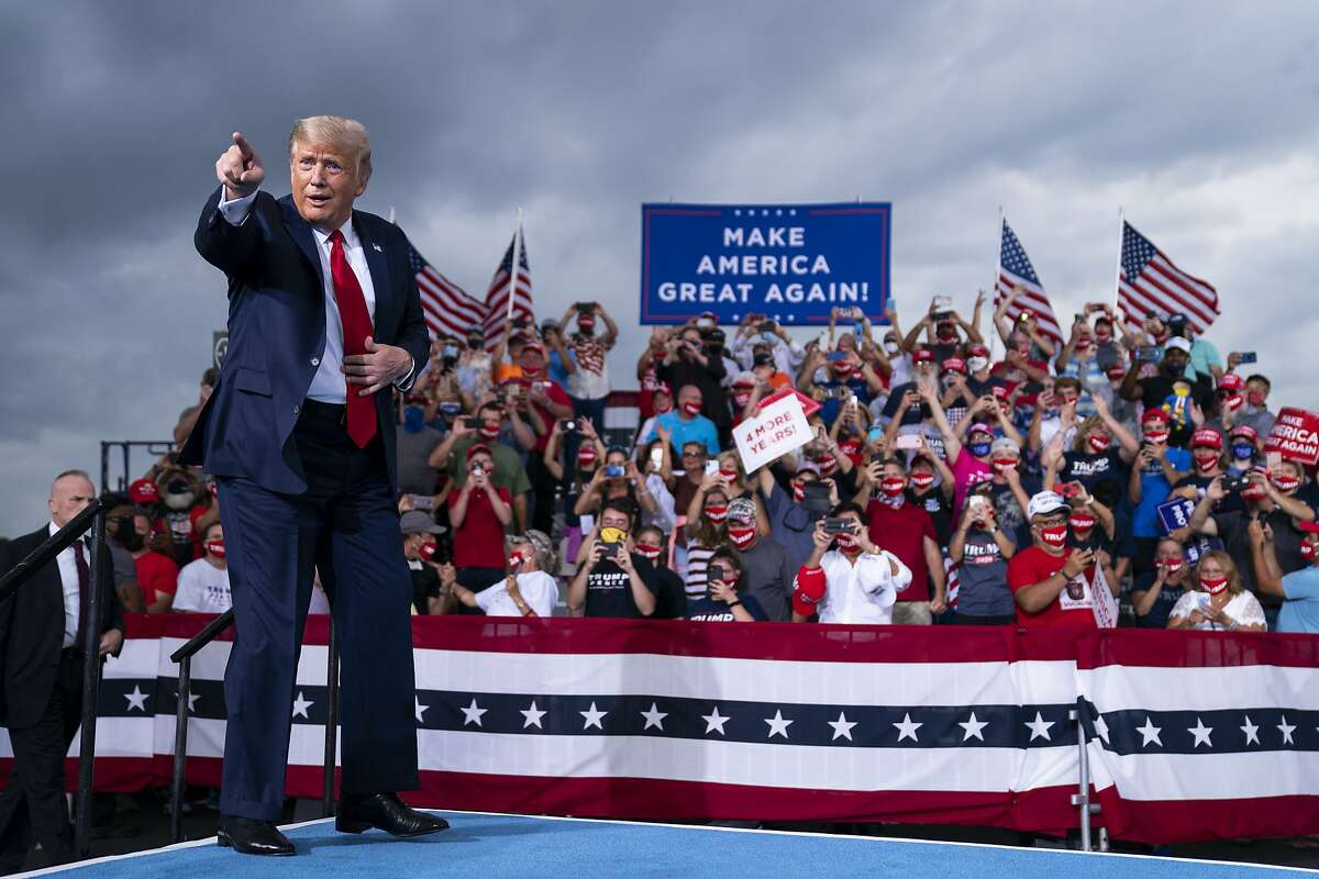 President Donald Trump arrives to speak at a campaign rally at Smith Reynolds in Winston-Salem, N.C., in September.
