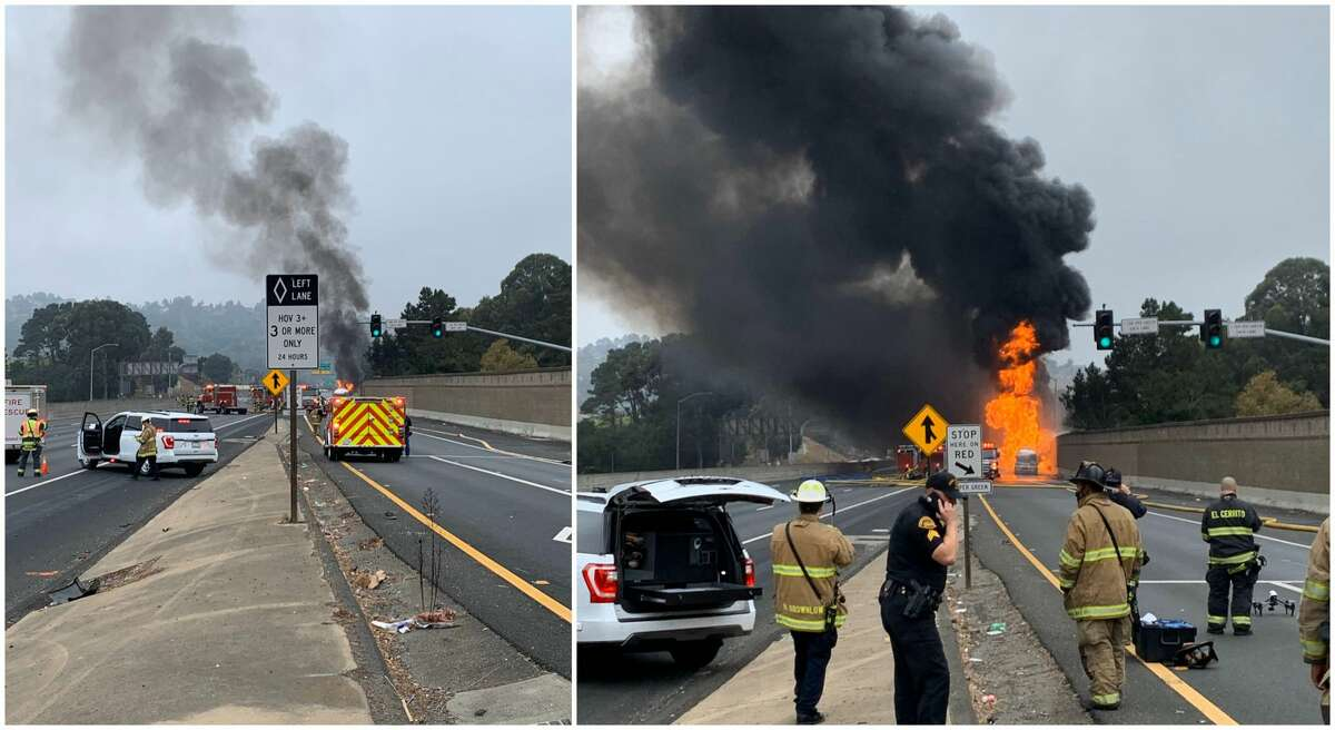 A tanker truck on fire between the Hilltop Mall and El Portal exits Saturday morning forced the closure of all lanes of I-80.