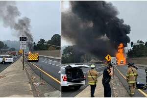 A tanker truck on fire between the Hilltop Mall and El Portal exits Saturday morning forced the closure of all lanes of I-80 in the westbound direction.