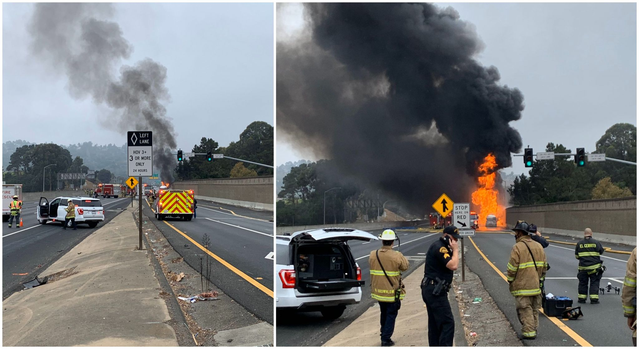 Large tanker fire shuts down all lanes on I-80 in San Pablo, triggers evacuations