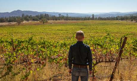 Christian Ahlmann at the family vineyard at Six Sigma Ranch and Winery, Sunday, Oct. 11, 2020, in Lower Lake, Calif. The 2015 Valley Fire reached their property. Haze from the Glass Fire fills the sky in the background.