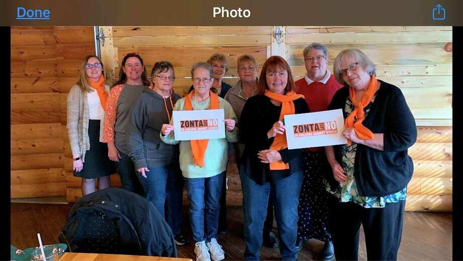 The Benzie County Zonta Club holds signs in 2019, speaking against violence against women. The club is currently trying to get a proclamation from the Benzie County Board of Commissioners denouncing domestic violence. (Courtesy Photo)