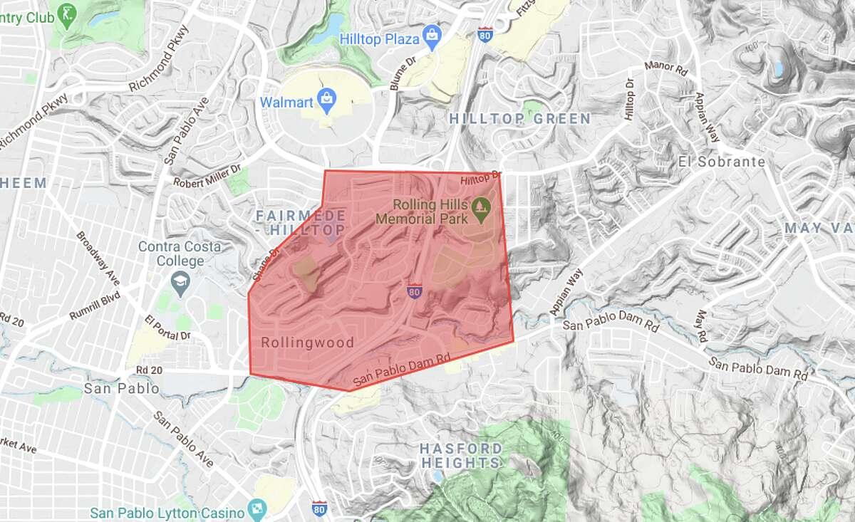 A Google map shows the area of an evacuation - and later, shelter-in-place order - in San Pablo, following a tanker truck fire on westbound I-80.