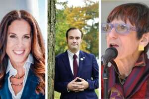 A composite image of the three candidates for Connecticut's 3rd Congressional District: Margaret Streicker, Justin Paglino and U.S. Rep. Rosa DeLauro.