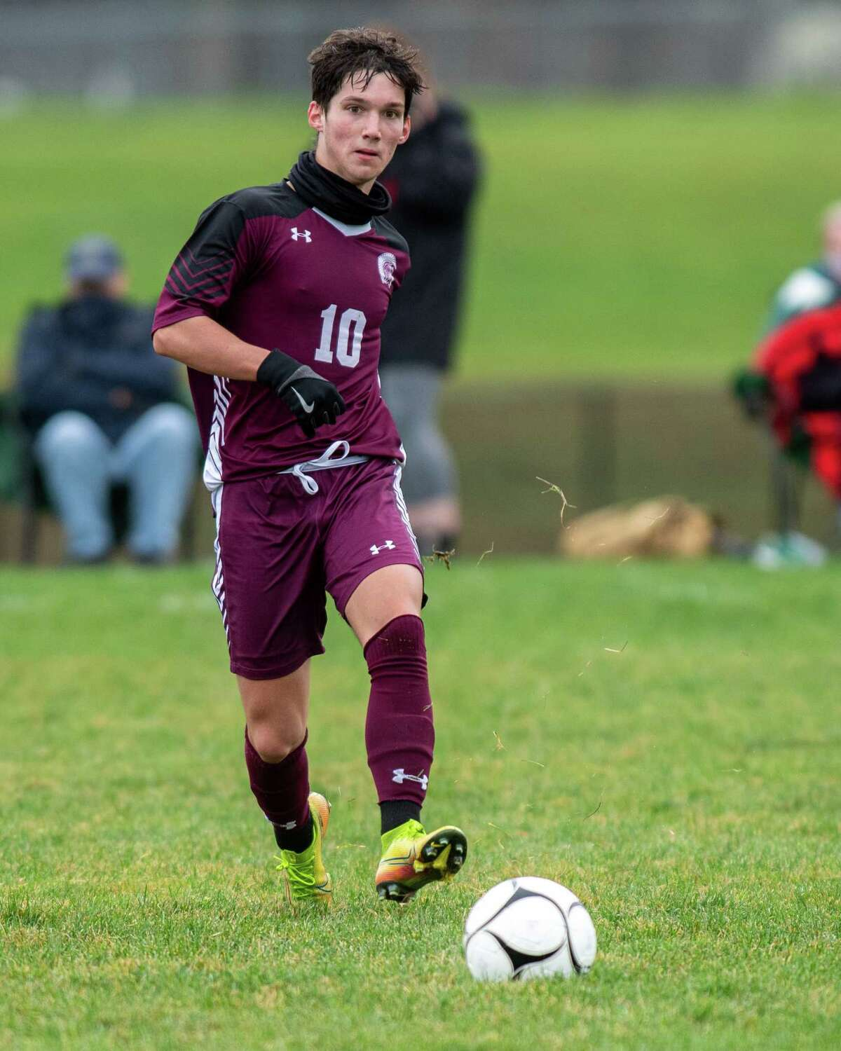 Greenville senior James Mitchell moves the ball upfield during a Patroon Conference matchup against Maple Hill. Mitchell was named Athlete of the Year.