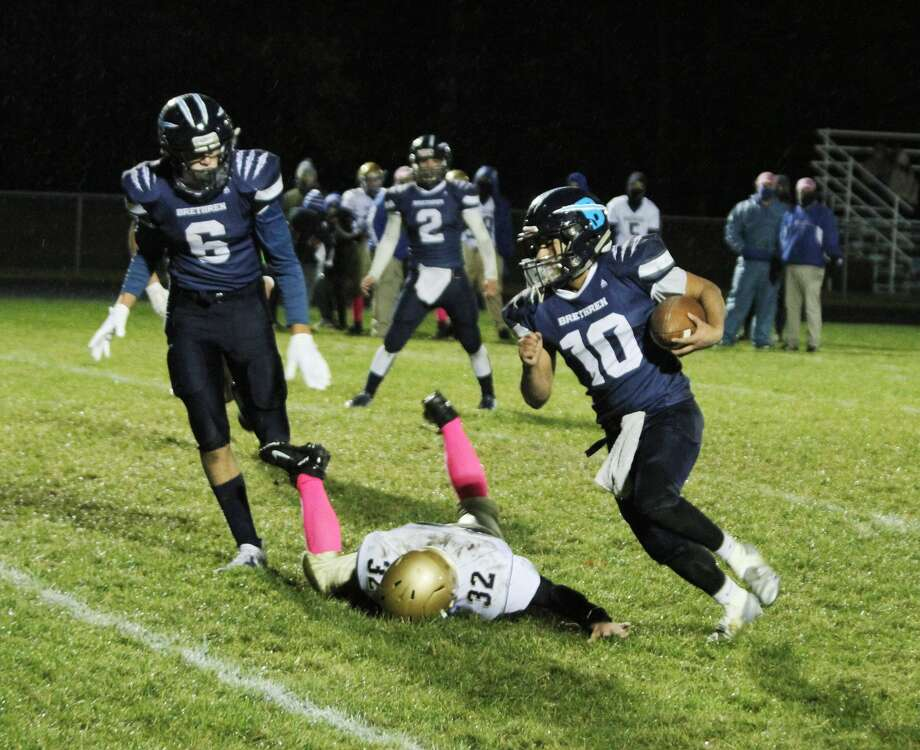 The Brethren football team topped Onekama on Friday, Oct. 23, 2020 on Bobcat Field. Photo: Dylan Savela/News Advocate