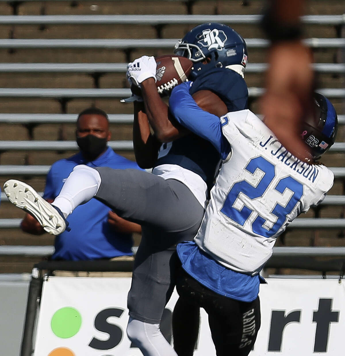 Rice Owls wide receiver August Pitre III (88) scores a touchdown with a catch while Middle Tennessee Blue Raiders cornerback Jalen Jackson (23) is trying to stop him during the second quarter of a CUSA conference game Saturday, Oct. 24, 2020, at Rice Stadium in Houston.