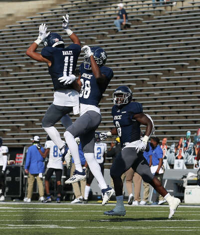 Rice Owls wide receiver August Pitre III (88) celebrates his touchdown with teammate Jake Bailey (11) during the second quarter of a CUSA conference game against Middle Tennessee Saturday, Oct. 24, 2020, at Rice Stadium in Houston. Photo: Yi-Chin Lee/Staff Photographer / © 2020 Houston Chronicle