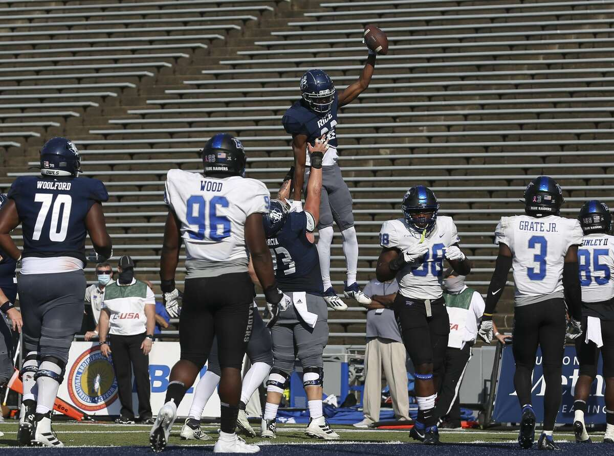 Rice Owls wide receiver August Pitre III (88) celebrates his touchdown during the second quarter of a CUSA conference game against Middle Tennessee Saturday, Oct. 24, 2020, at Rice Stadium in Houston.