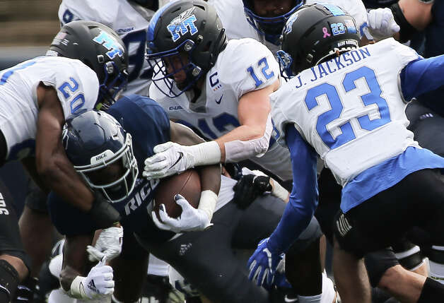 Rice Owls running back Juma Otoviano (8) carries the ball during the first quarter of a CUSA conference game against Middle Tennessee Saturday, Oct. 24, 2020, at Rice Stadium in Houston. Photo: Yi-Chin Lee/Staff Photographer / © 2020 Houston Chronicle
