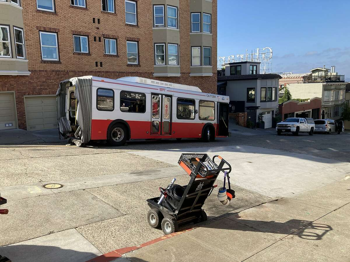 A severed Muni bus is featured in a Marvel Studios film in the works around Ghirardelli Square in San Francisco.