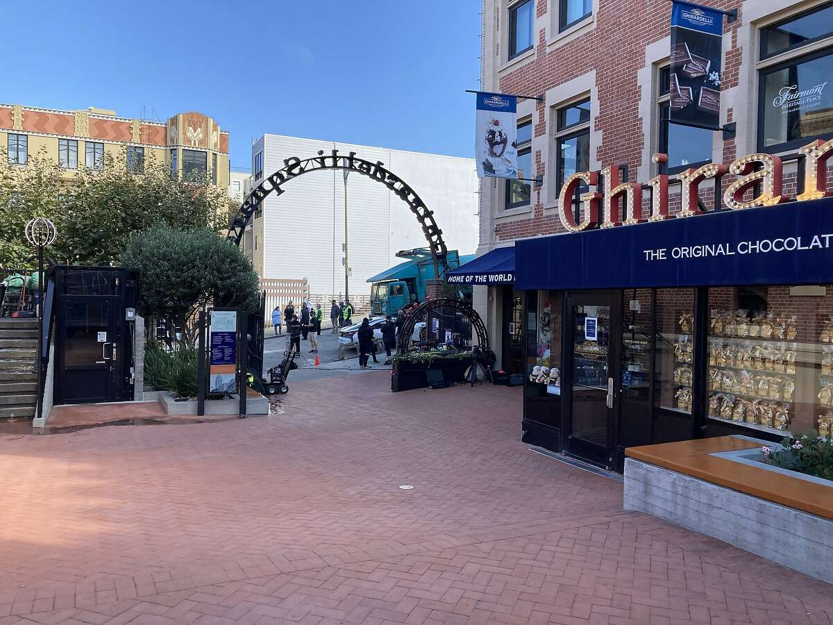 A Marvel Studios crew works on a film around Ghirardelli Square, the first major production San Francisco has permitted since the COVID-19 pandemic began.