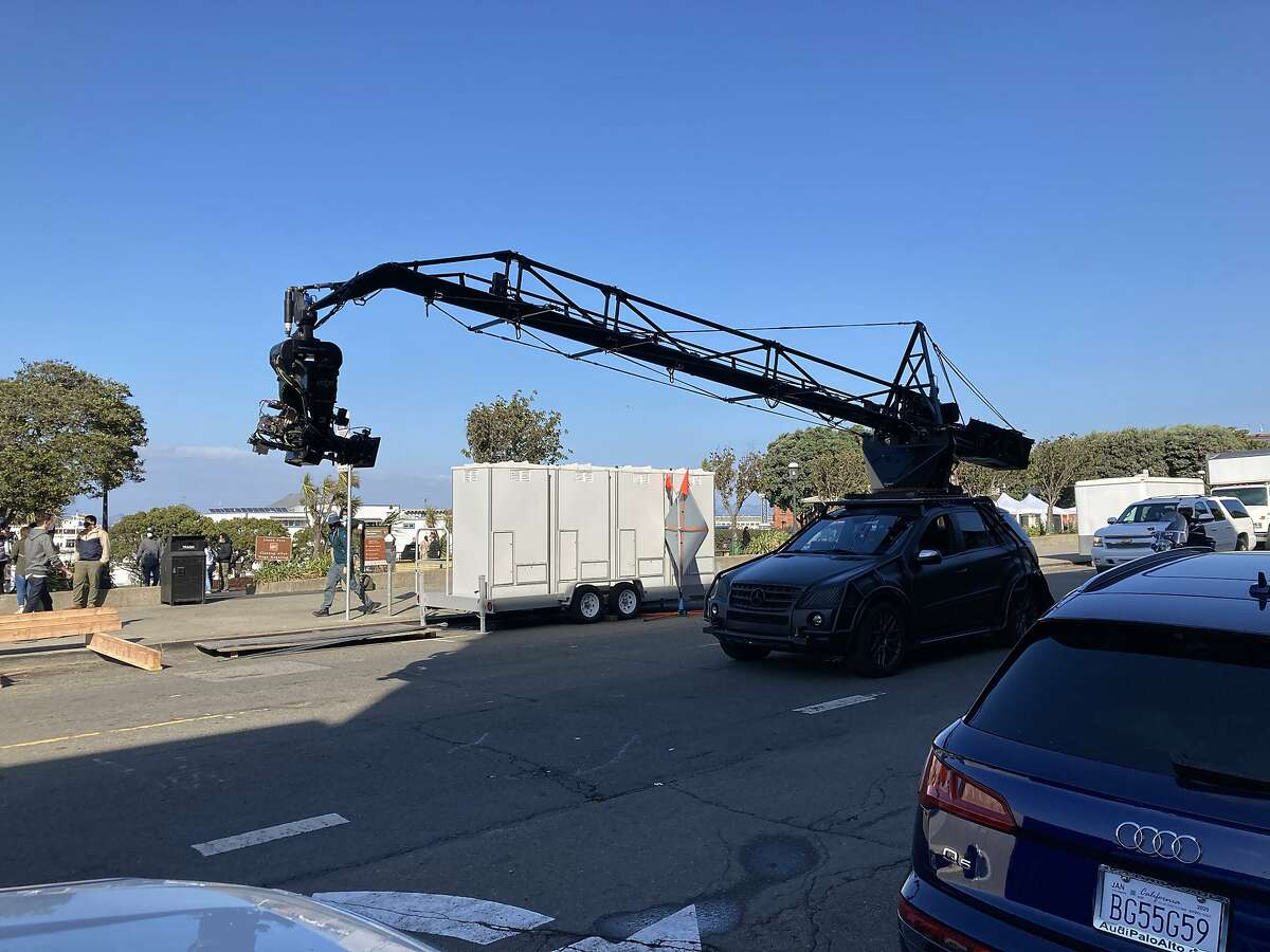 """A Marvel Studios crew works on """"Shang-Chi and the Legend of the Ten Rings"""" on Lower Nob Hill in San Francisco."""