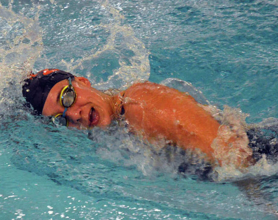 Edwardsville's Ally Janson competes in the 200-yard freestyle during Saturday's Edwardsville Sectional at Chuck Fruit Aquatic Center. Photo: Scott Marion The Intelligencer