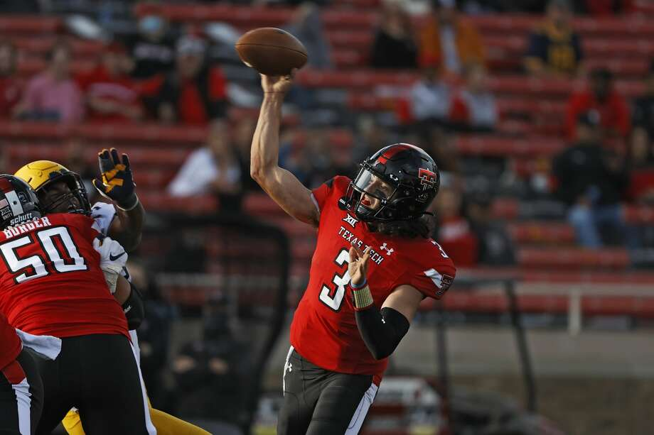 Texas Tech's Henry Colombi (3) passes the ball during the first half of an NCAA football game against West Virginia, Saturday, Oct. 24, 2020, in Lubbock, Texas. (AP Photo/Brad Tollefson) Photo: Brad Tollefson/Associated Press / Copyright 2020 The Associated Press. All rights reserved.