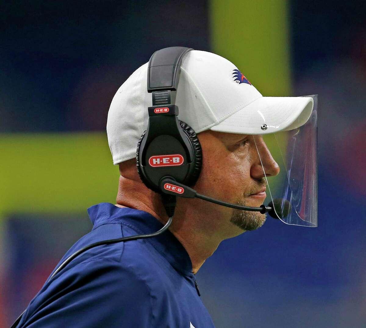 UTSA head coach Jeff Traylor reacts after a Louisiana Tech touchdown. UTSA Louisiana Tech on October 24, 2020 at the Alamodome. Halftime score UTSA 6 Louisiana Tech 19