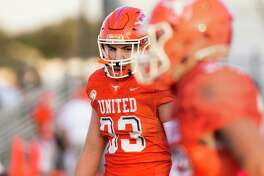 United's Derek Ramos had two sacks in the Longhorns' season-opening win over United South on Friday.
