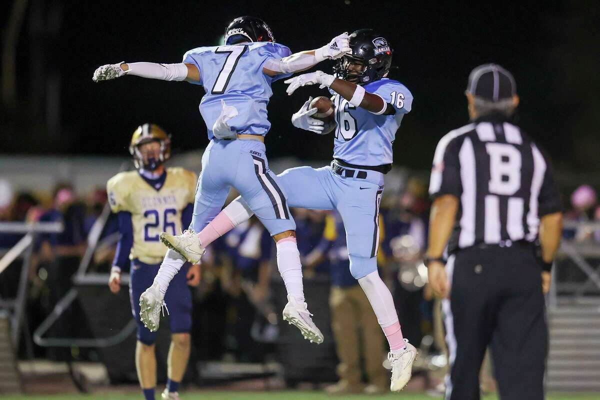 Harlan's Eric Burnett, right, celebrates his 85-yard touchdown reception with Elijah Gonzales during the first half of their District 29-6A high school football game with O'Connor at Farris Stadium on Oct. 24, 2020.