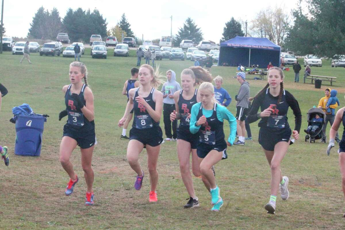 Big Rapids' girls cross country team gets off to the start of Saturday's preregional race at Chippewa Hills. (Pioneer photo/John Raffel)