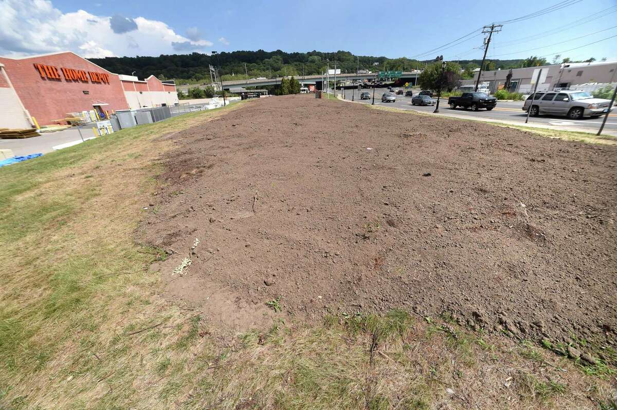 The location where a large stand of trees were removed next to Home Depot in Derby photographed on August 24, 2020. The Derby Planning and Zoning Commision wants Home Depot and its landscapers to submit a planting plan that will restore a buffer zone between the box store and Main Street.