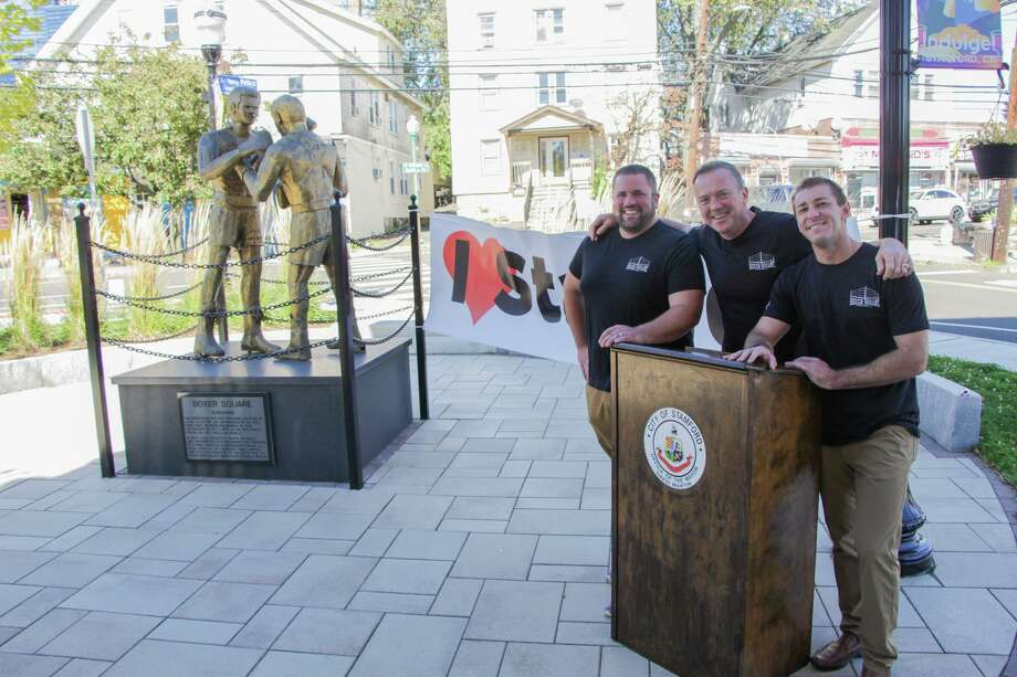 Transportation Department Bureau Chief Jim Travers (middle), with traffic engineers Frank Petise (left) and Garrett Bolella (right) pose at Boxer Square, which was completely redesigned last year and is now up for a national award. Photo: City Of Stamford